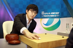Kim Jisuk, taking white in the second game, forced Lee Sedol to resign.